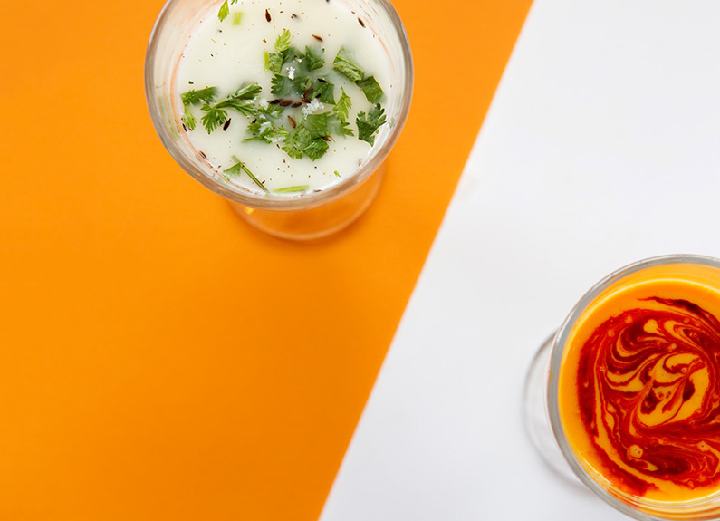 drink up a mango or salted chile lassi from haveli indian restaurant on a hot day