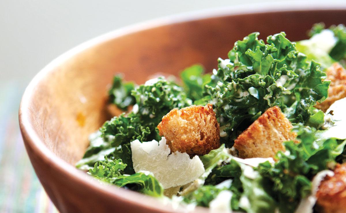 vegetarian kale caesar salad