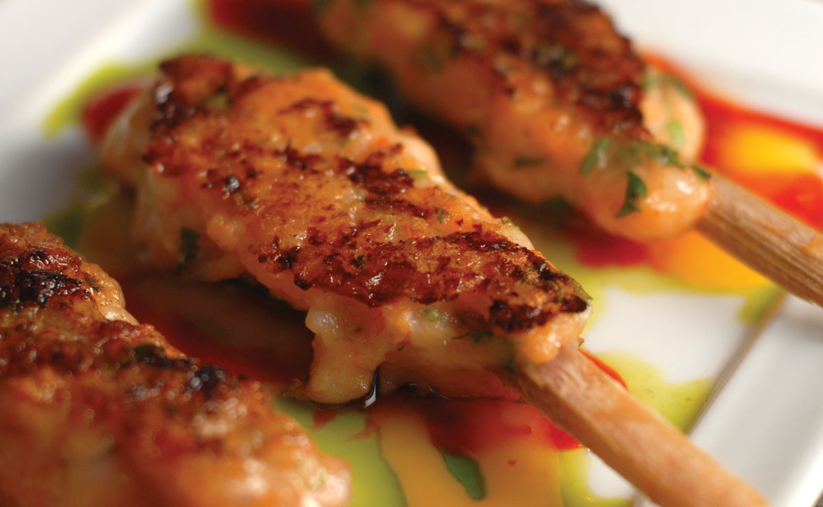 Sugarcane Shrimp Lollipops with Spicy Mango Sauce