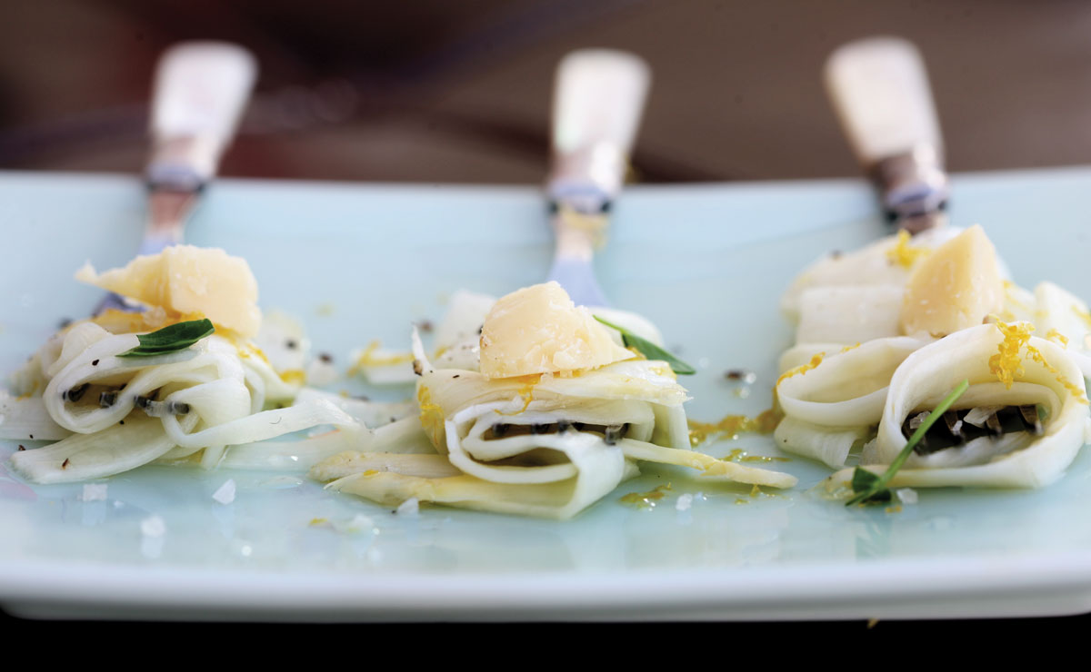 "White Asparagus ""Tagliatelle"" With Cave-Aged Gruyère and Argan Oil"