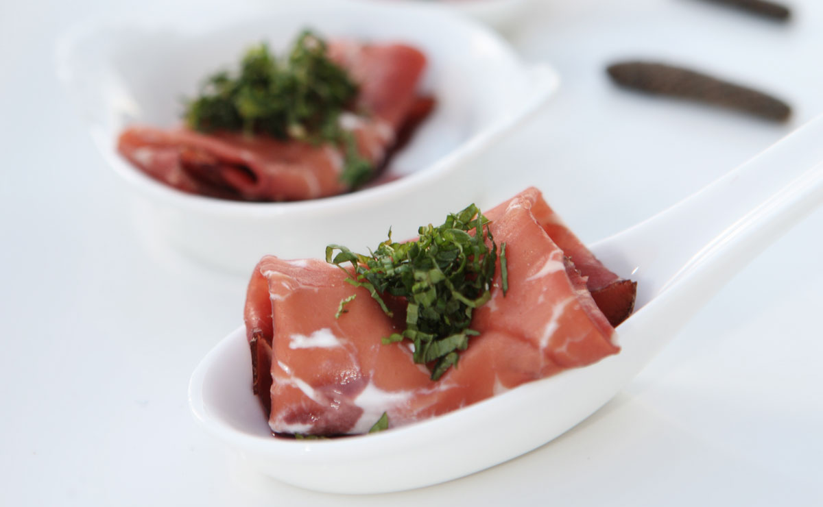 Bresaola With Labneh and Mint