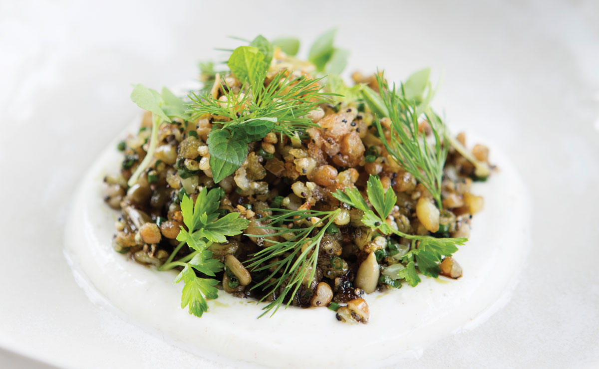 Elaia and Olio's Crispy Grain and Seed Salad with Spiced Yogurt