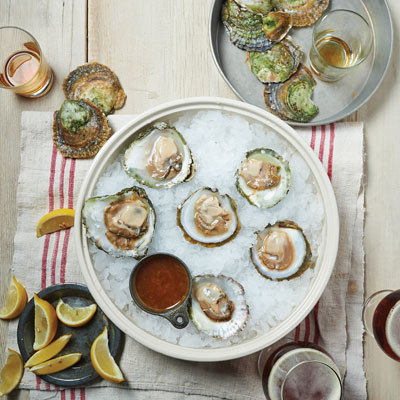 Bridge Tap House's Raw Oysters with Champagne Vinegar-beer Mignonette