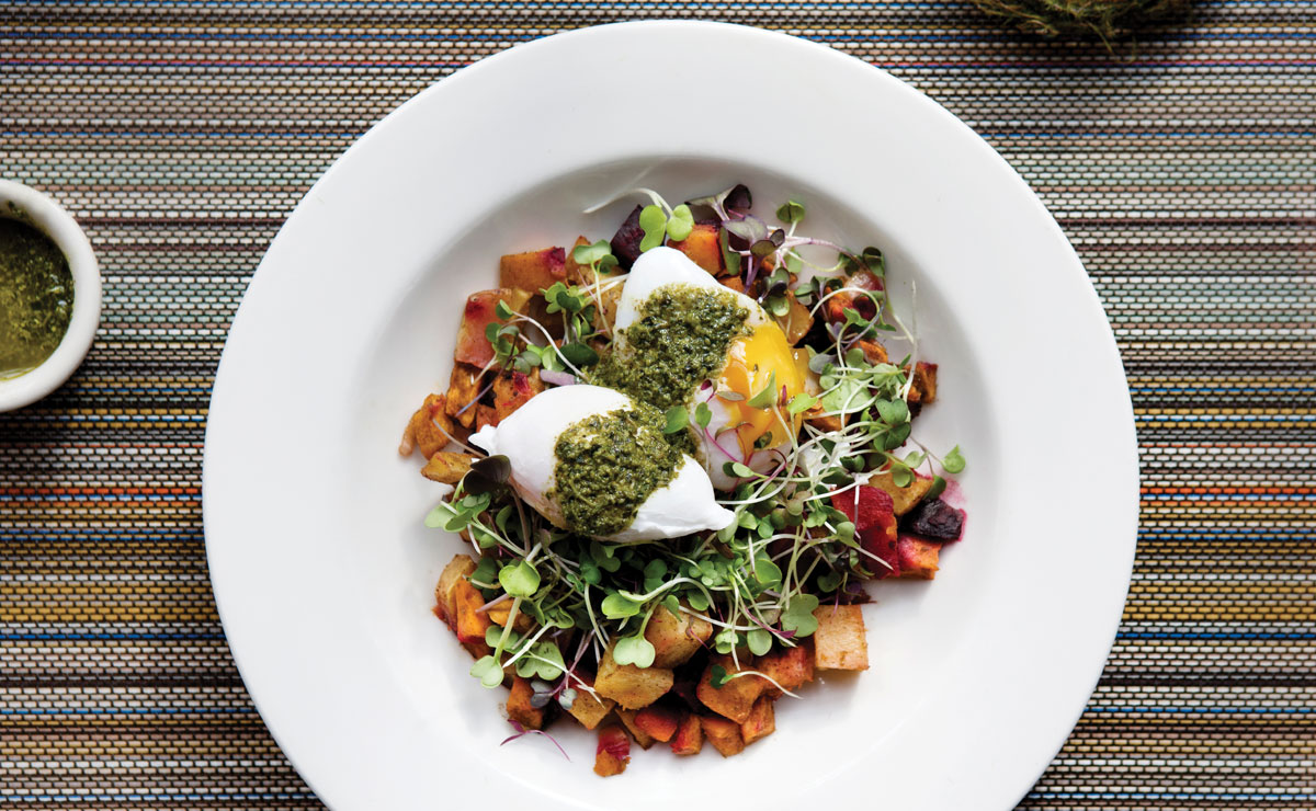Vegetable Hash with Poached Duck Eggs and Pea Shoot Pesto