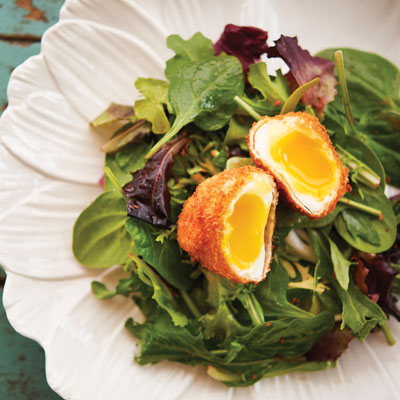 Fried Poached Egg Over Greens