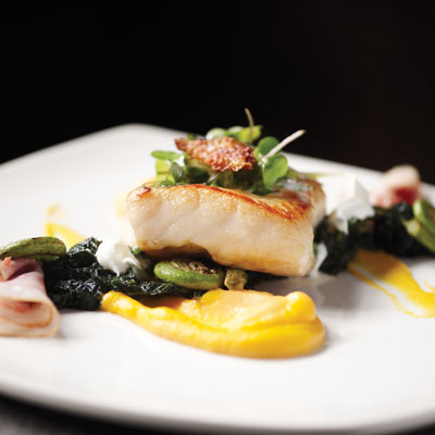 Sidney Street Cafe's Smoked Pacific Sturgeon, Butternut Squash, Nettles and Fiddlehead Ferns