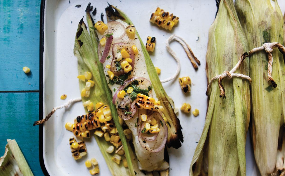 Husk-roasted sea bass