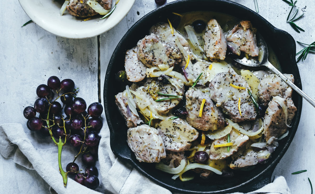 Pork Tenderloin with Grapes and Fennel
