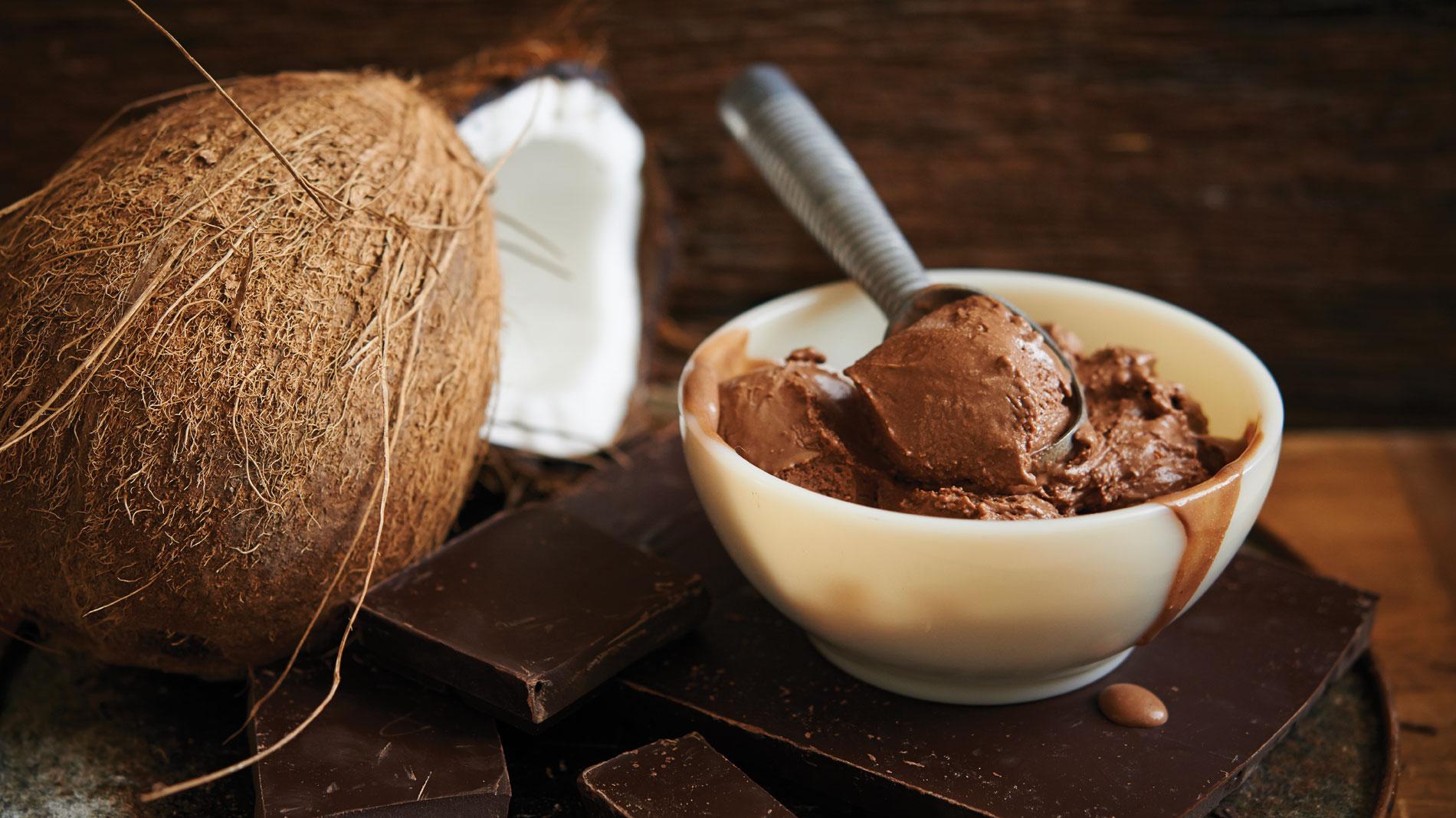 vegan chocolate coconut fudge ice cream at clementine's creamery in st. louis