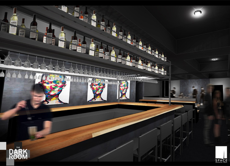 rendering of new interior of the dark room in grandel theater