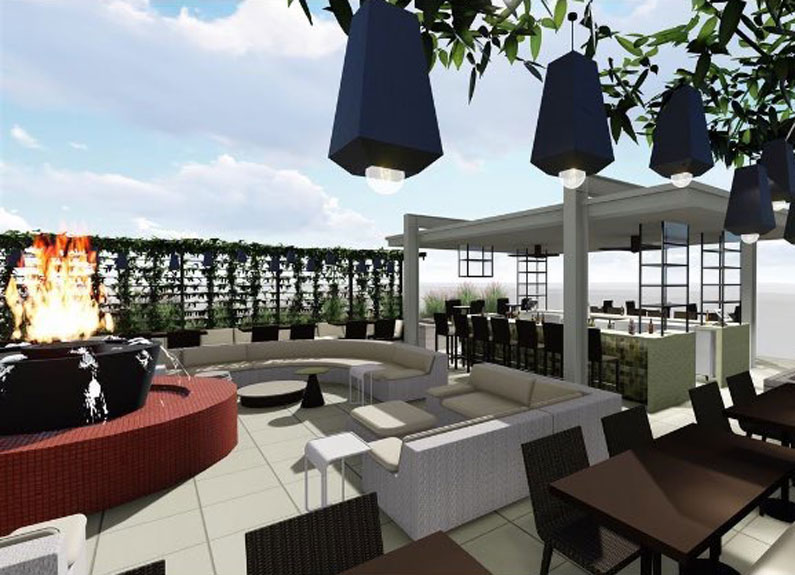 rendering of cinder house patio at four seasons st. louis