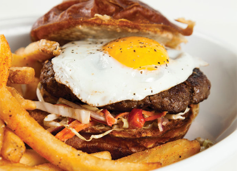the Creole-Korean fusion Wagyu bulgogi burger at Fleur de Lilies in Soulard