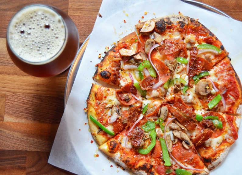 pizza and beer from hopskeller brewing co. in waterloo