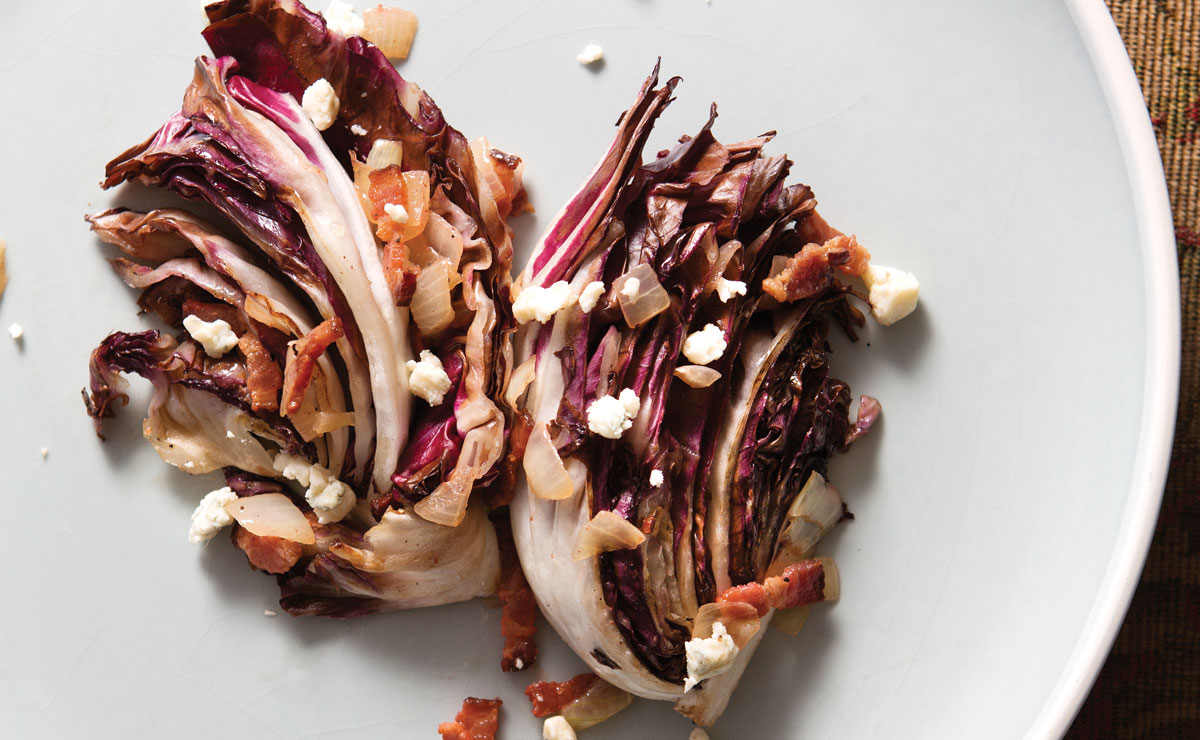 Wilted radicchio and bacon salad with Peychaud's dressing