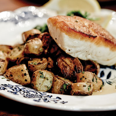 roasted halibut with spinach and fingerling potatoes