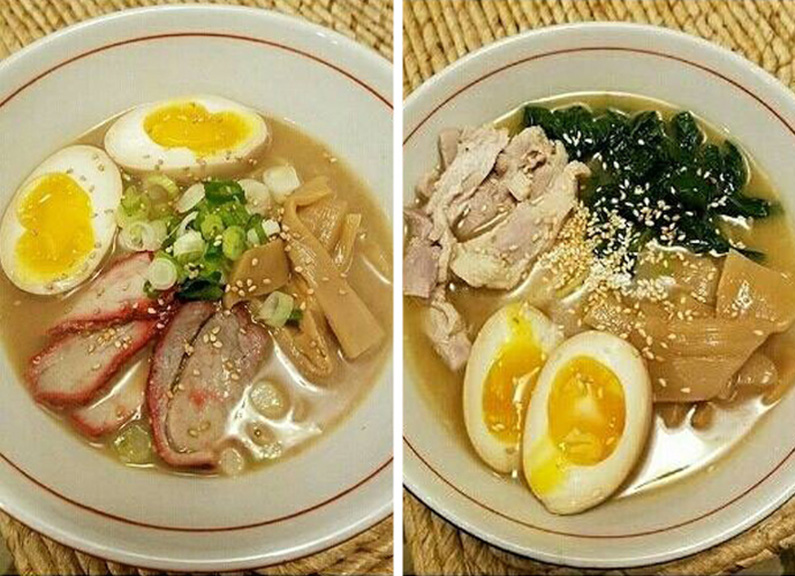 from left, Nudo House's pork tonkotsu and chicken schmaltz ramen