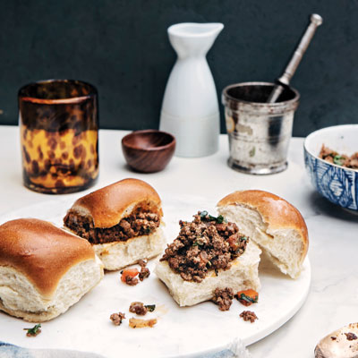 kheema pav, curried ground meat sliders