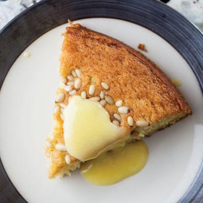 Olive Oil-Pine Nut Cake with Lemon Curd