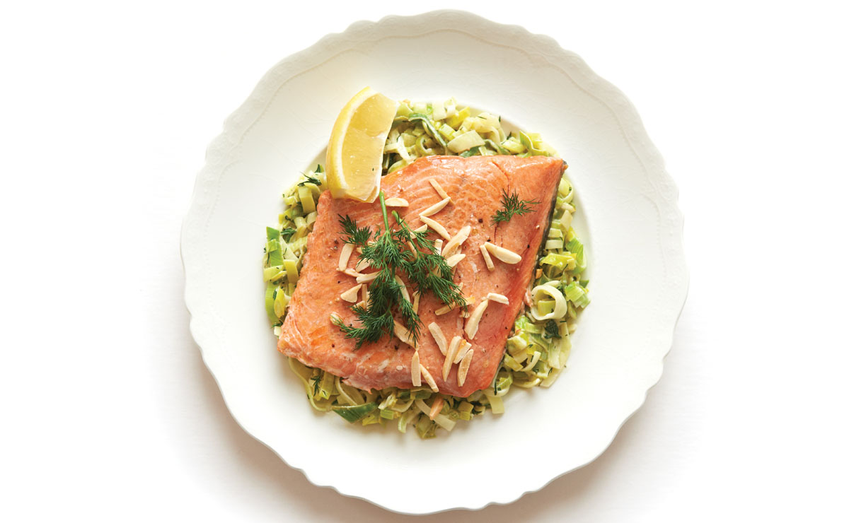 Salmon and Creamed Leeks