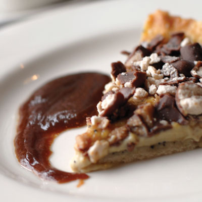 Banana-Coffee-Whopper-Heath Bar Tart Paired With Warm Schlafly Coffee Stout