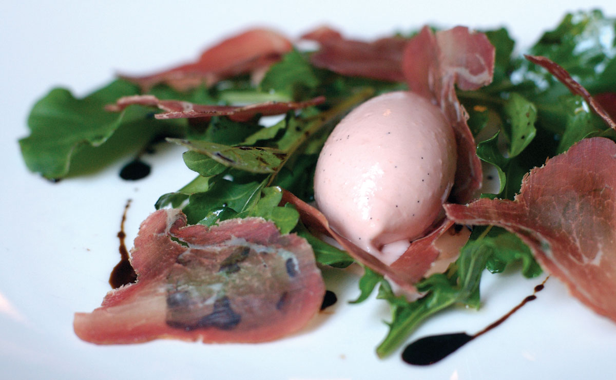 Wild Boar Prosciutto With Apple Saba, Arugula and Nasturtium