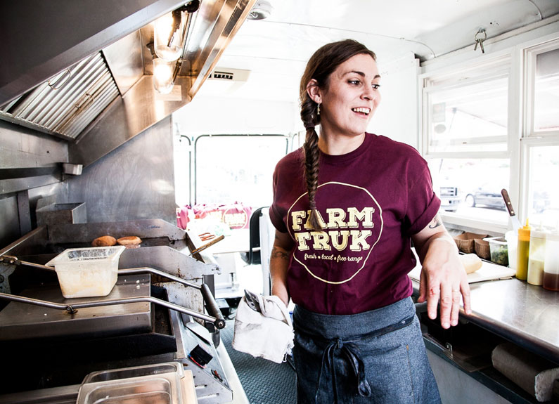 farmtruk chef and owner samantha mitchell inside her food truck