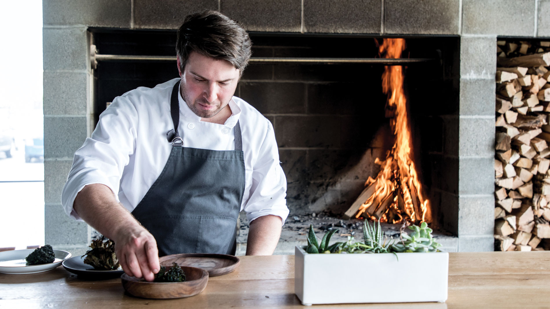 vicia chef and co-owner michael gallina works in his kitchen