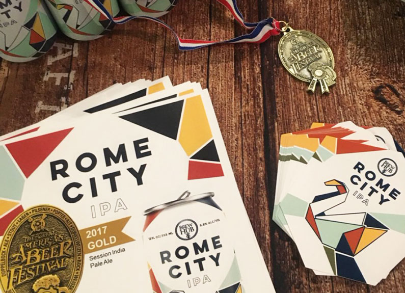 Get a taste of Brew Hub Taproom with an award-winning Rome City IPA