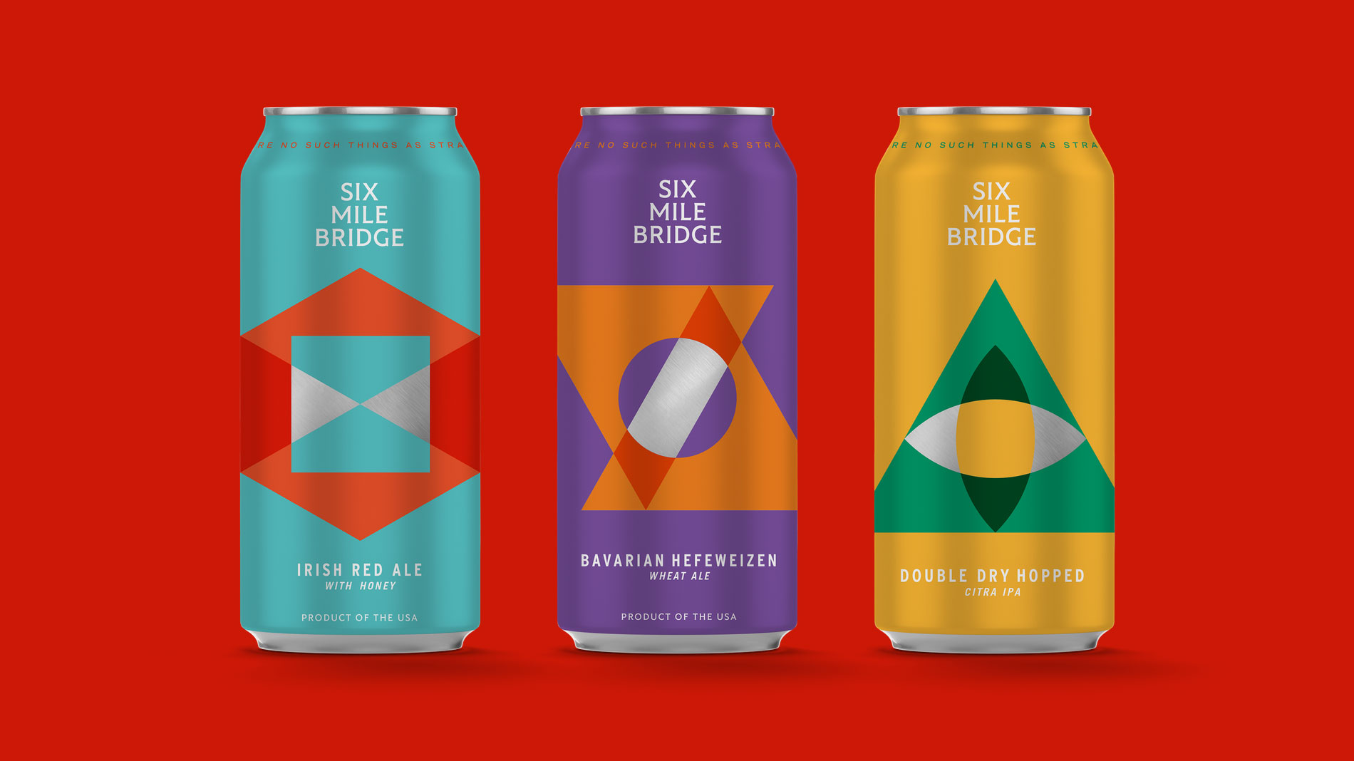 three cans from six mile bridge beer in st. louis