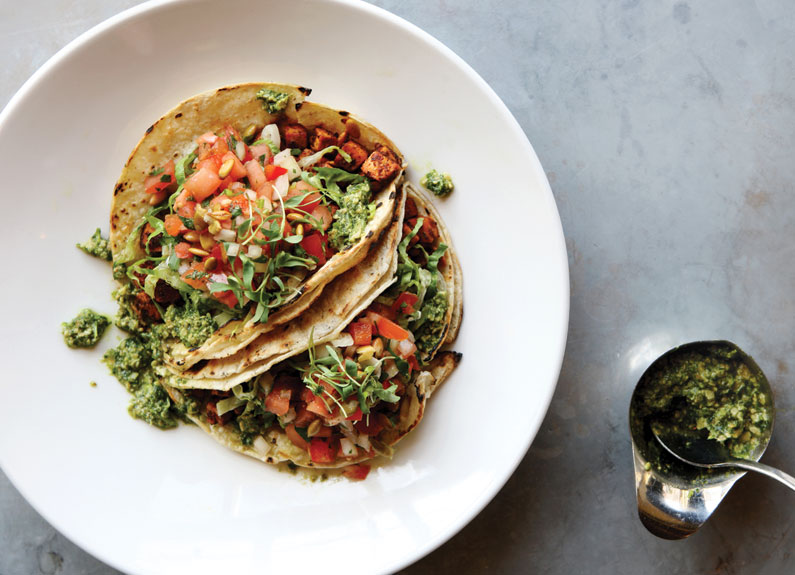 two tofu tacos from chef brian hardesty