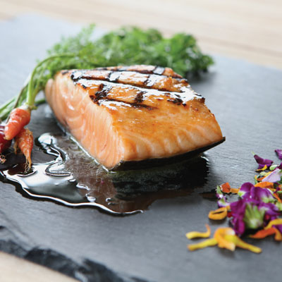 Charbroiled Spring Wild Chinook Salmon with Nasturtium Vinaigrette