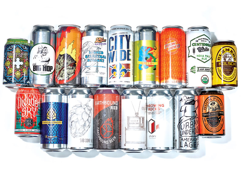 An array of St. Louis beer cans.