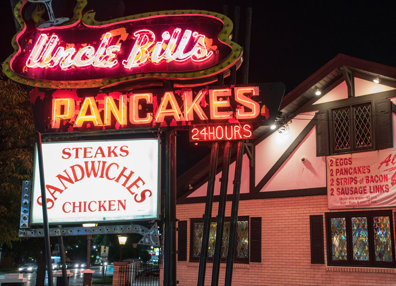the neon sign outside Uncle Bill's Pancake & Dinner House in St. Louis
