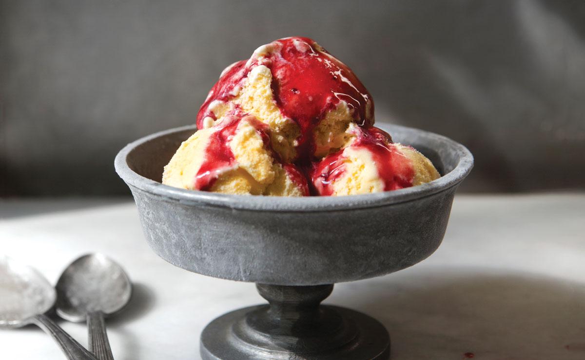 Sweet Corn Ice Cream with Blackberry Sauce Recipe