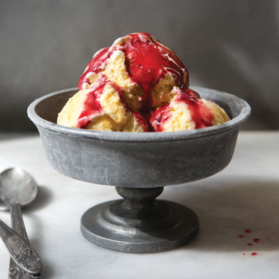 Sweet Corn Ice Cream with Blackberry Sauce Recipe