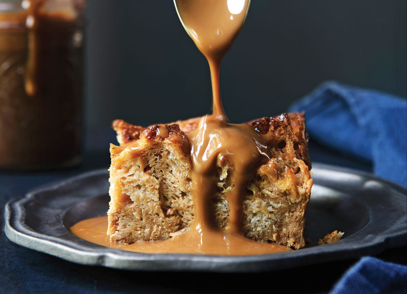 bourbon dulce de leche bread pudding