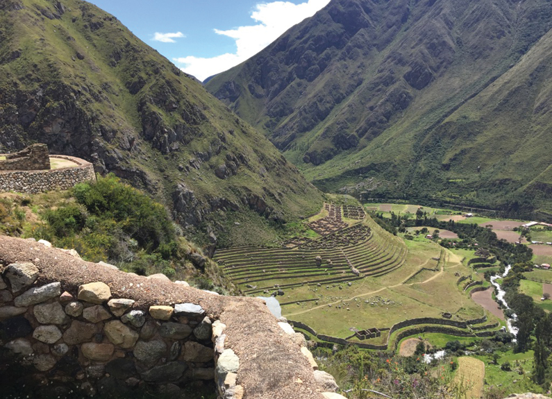 Ancient Incan terraces used for growing potatoes, corn and other crops.