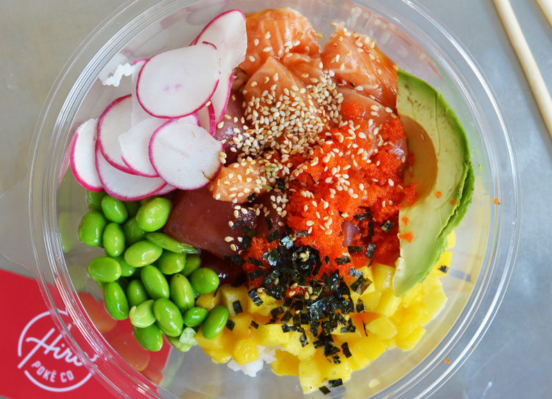 The Aloha STL is one of three ready-made bowls at Hiro Poke Co.