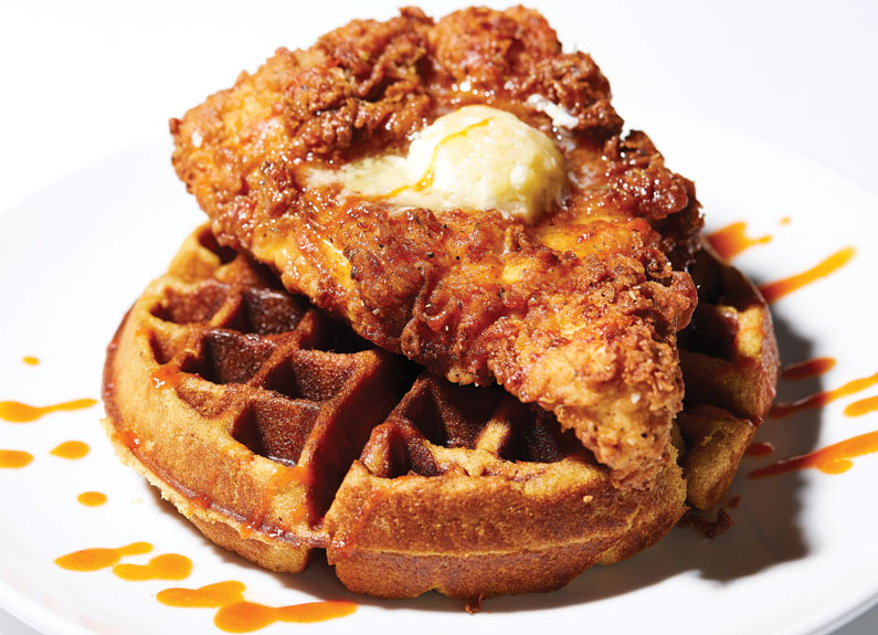 the chicken and waffle at l'acadiane in lafayette square in st. louis