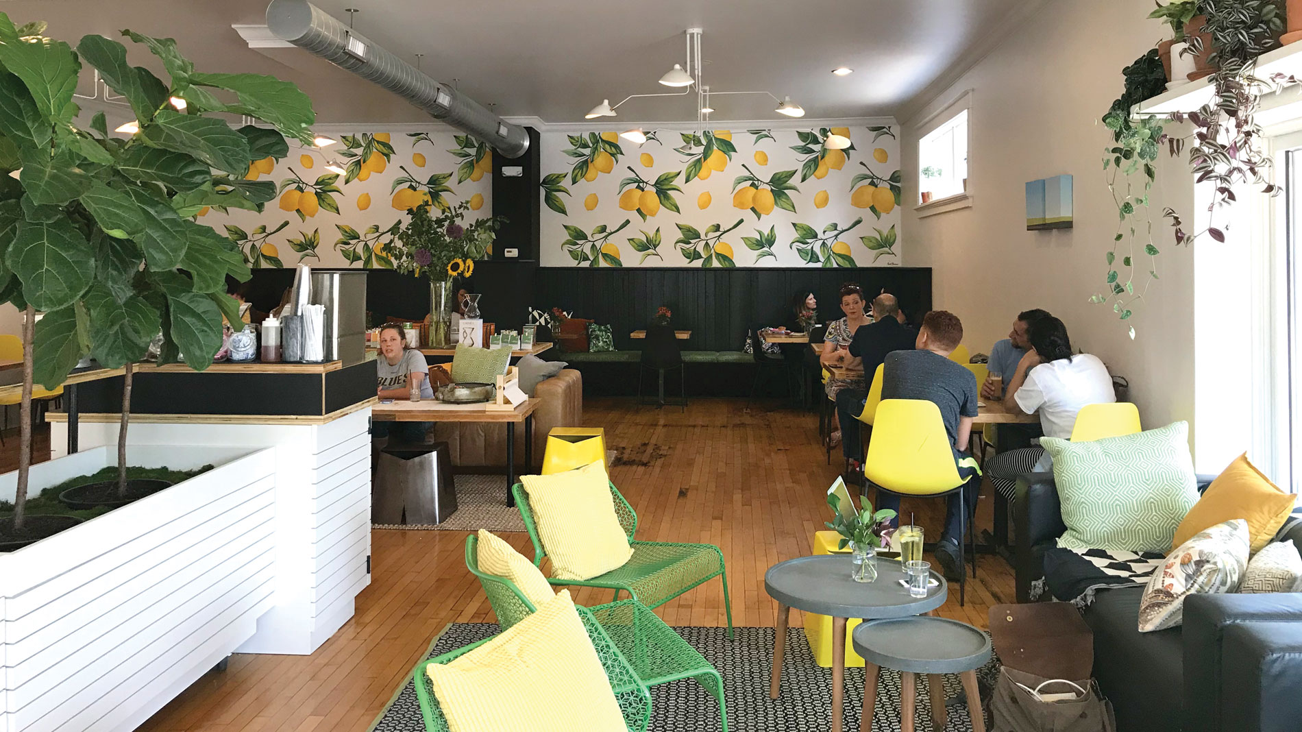 the interior of lola jean giveback cafe in st. louis