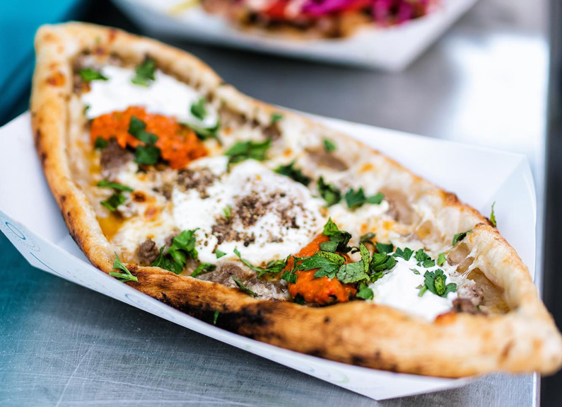 beef and cheese pide at balkan treat box food truck