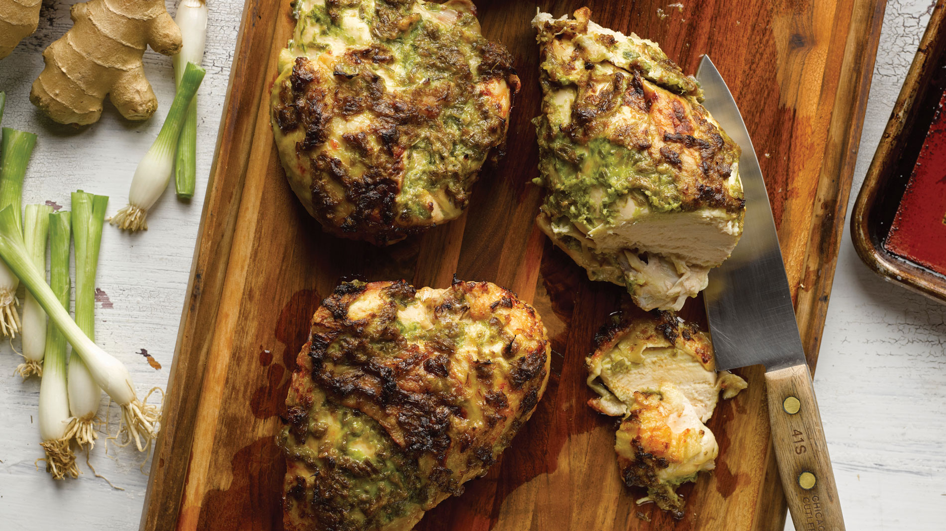 chicken breasts with ginger-scallion pesto