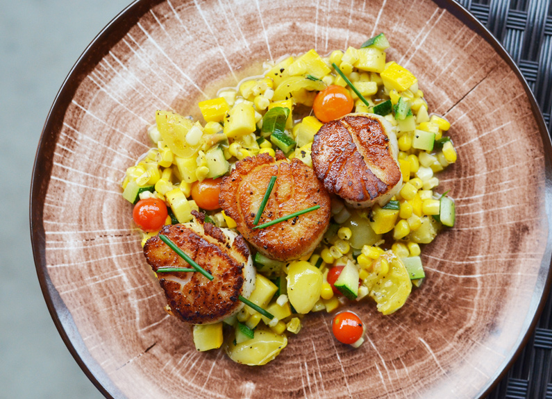 scallops with corn, tomatoes and lemon verbena at bakers & hale in godfrey, illinois
