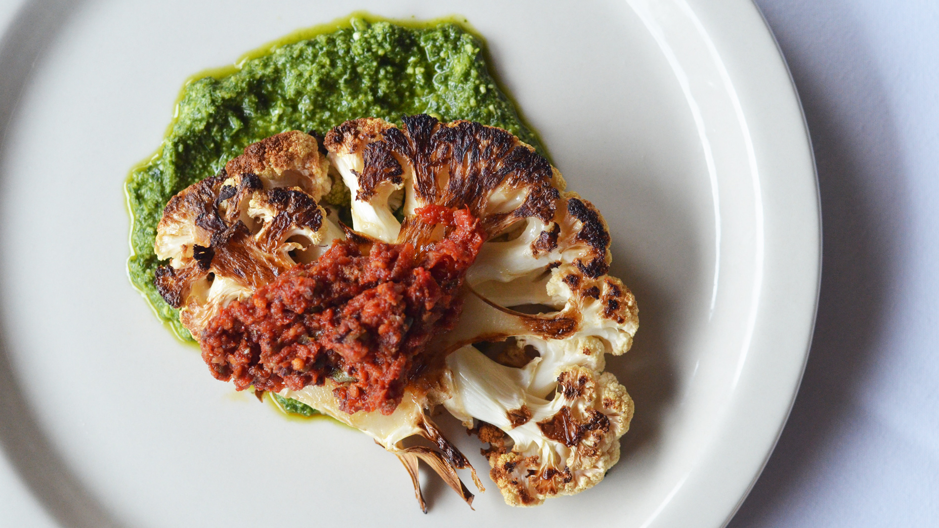 cauliflower steak at 50/fifty kitchen in st. louis