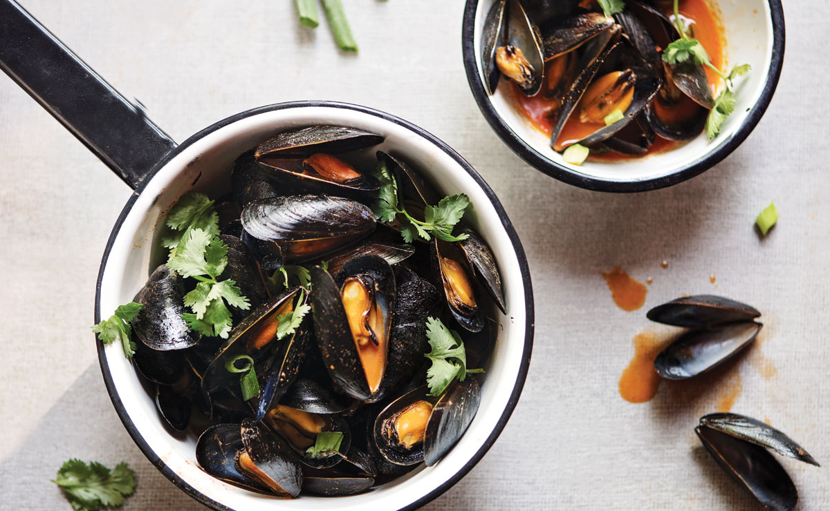 Grilled Mussels with Red Curry
