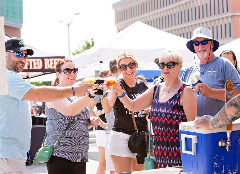attendees at clayton brews and blues festival