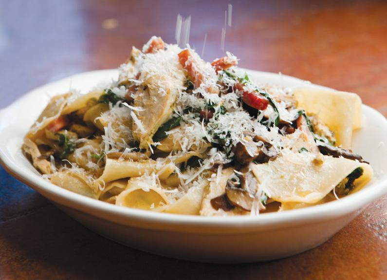 pappardelle pasta with chicken, proscuitto and spinach at marcella's mia sorella in ballwin
