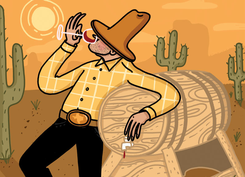 illustration of a cowboy drinking wine