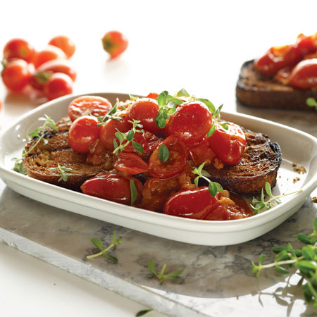summer tomatoes on grilled bread