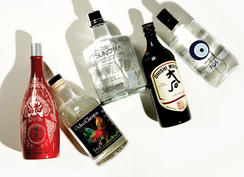 five bottles of liquor